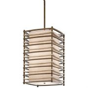 Moxie Large 4 Light Pendant in Cambridge Bronze with a Linen Shade and Glass Diffuser - KICHLER KL/MOXIE/FP/L
